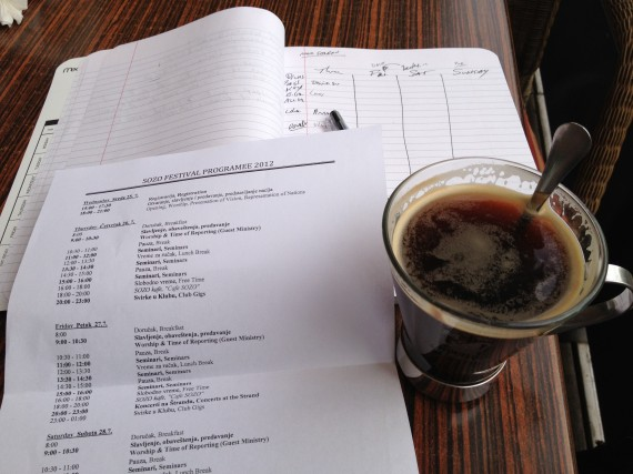 Starting the day with the schedule, my planner and COFFEE