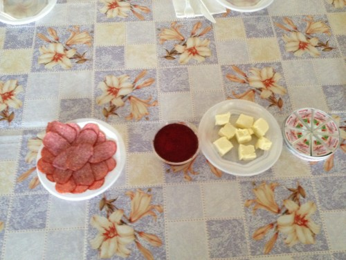 Breakfast: Salami, Bread, Jam, Jam, Cheese