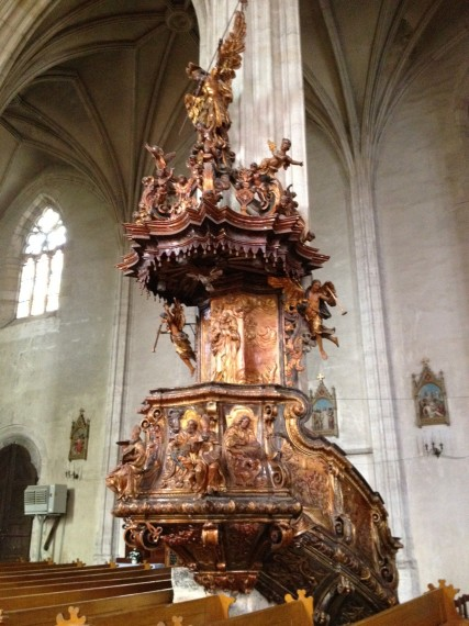 The pulpit in St Michaels is quite ornate