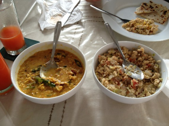 Breakfast of Dahl (Lentils, coconut, curry) and Scarmbled Eggs with onions & spices