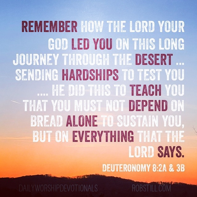 Deuteronomy 8:2-3 Remember how the Lord your God led you on this long journey through the desert