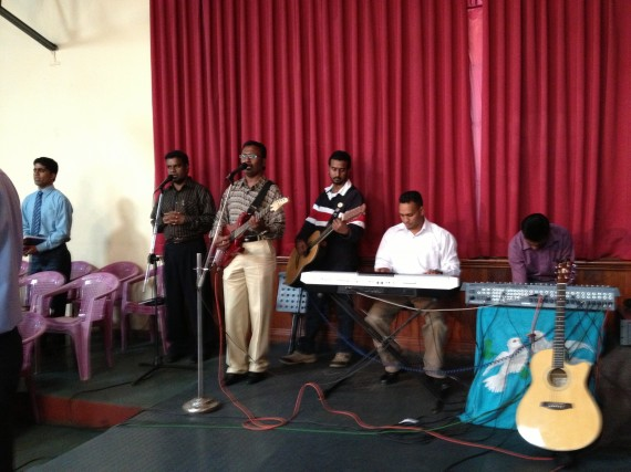 Worship team with keyboard drum machine